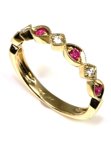 Ruby and Diamond Milgrain Band by Allison Kaufman