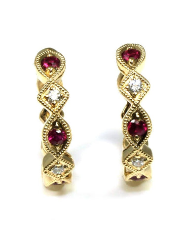 Ruby and Diamond Milgrain Hoop Earrings by Allison Kaufman