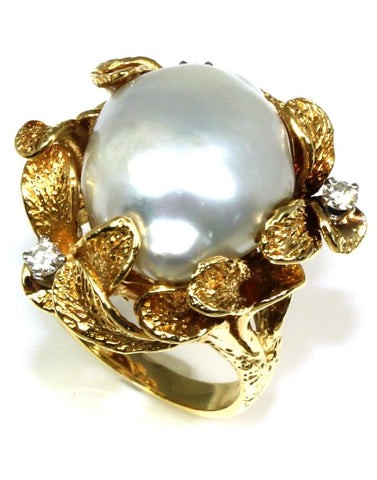 Baroque Pearl and Diamond Ring