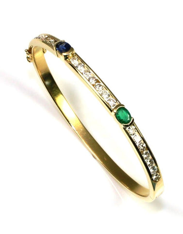 1.47ctw Diamond, Blue Sapphire, and Emerald Bracelet