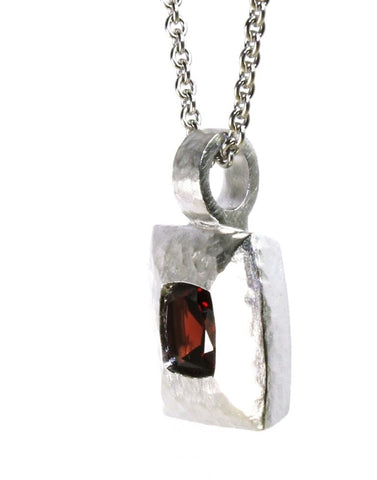 Square Garnet Hammered Necklace by Bastian Inverun