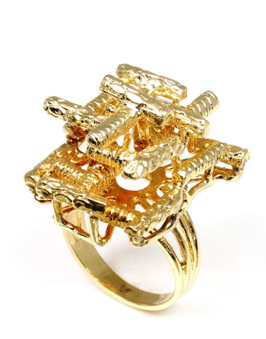Gold Grid Fashion Ring