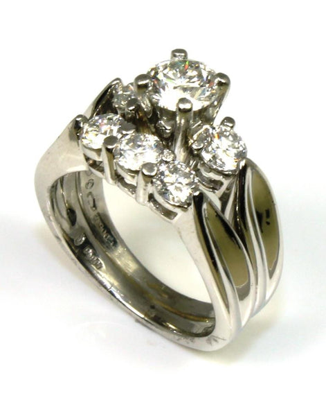 Platinum 1.58ctw Diamond Bridal Ring Set