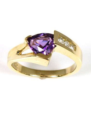 Amethyst Trillion Shape and Diamond Ring