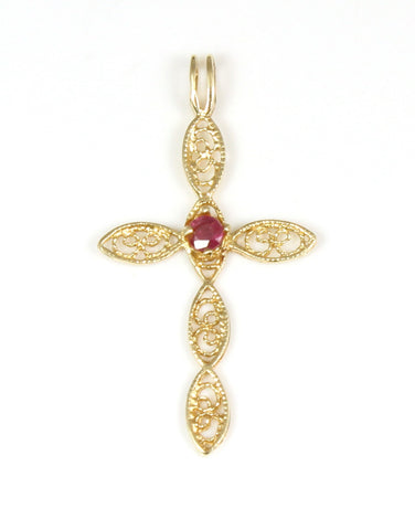 Ruby Filigree Cross