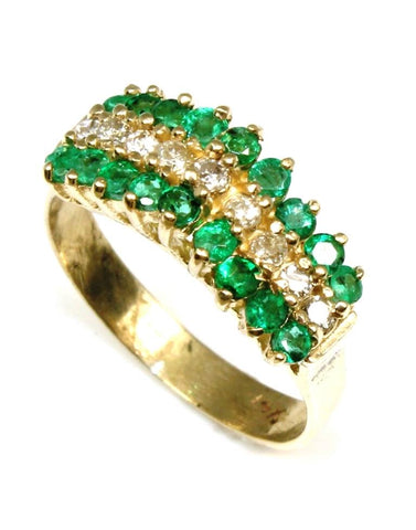 Emerald and Diamond Pyramid Ring