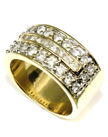 Baguette and Round Diamond Wide Band