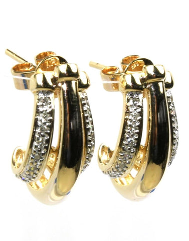Diamond Three Row Post Earrings