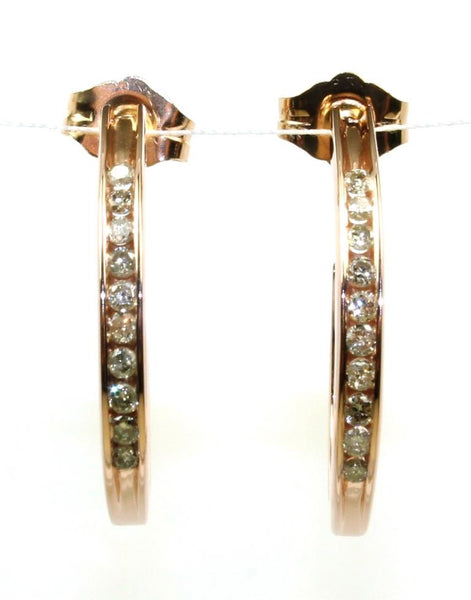 Rose Gold .20ctw Diamond Channel Set Half Hoops