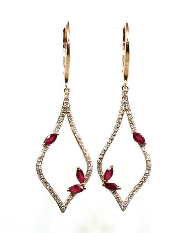 Ruby and Diamond Teardrop Earrings by Allison Kaufman