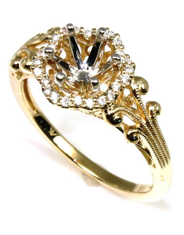 Diamond Halo Clover Ring Setting by Allison Kaufman