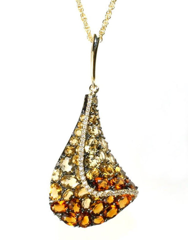 Citrine and Diamond Sail Necklace