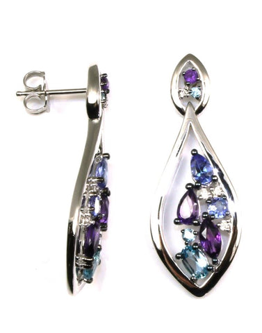 Multi Gemstone and Diamond Dangle Earrings by Allison Kaufman