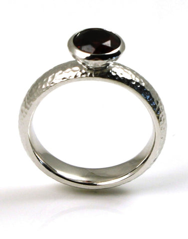 1.45ct Garnet Hammered Ring by Bastian-Inverun