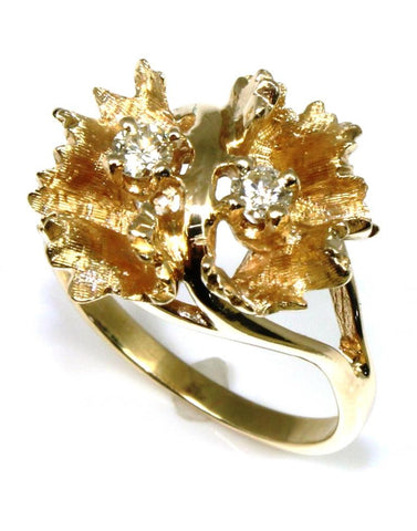 .16ctw Two Diamond Flower Ring