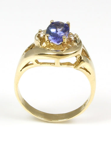 Tanzanite Oval and Diamond Ring