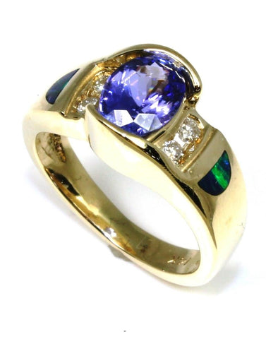 Tanzanite, Opal, and Diamond Ring