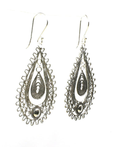 Ornate Pear Wire Earring