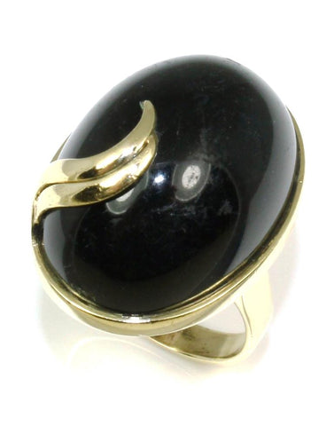 Large Oval Cabochon Black Onyx Ring