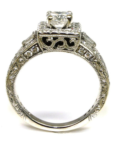 "Square Diamond Halo Detail Carved ""Neil Lane"" Ring"