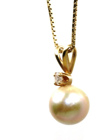 7.5mm Pearl and Diamond Necklace