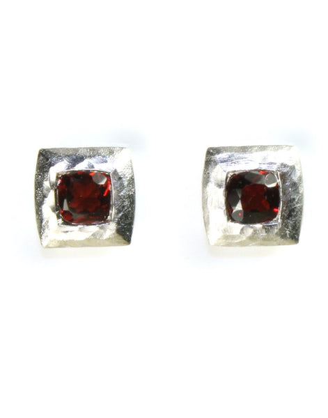 Square Hammered Garnet Earrings by Bastian Inverun