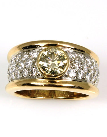 .85 Carat Champagne Diamond in Wide Pave Band totaling 1.60 Carat Total