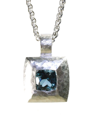 Square Hammered London Blue Topaz Necklace by Bastian Inverun