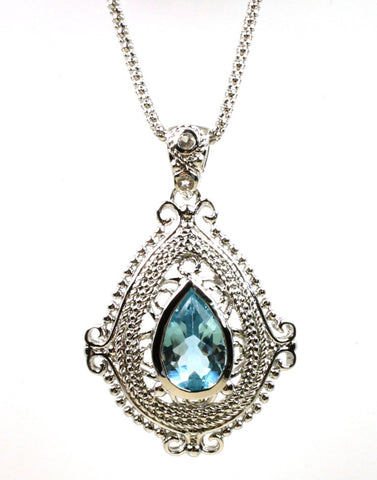 Blue Topaz Ornate Pear Shape Necklace