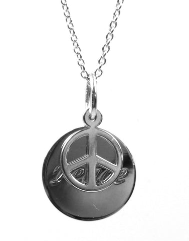 """Peace"" Inspirational Disc Necklace"