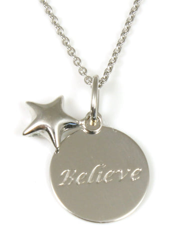 """Believe"" Inspirational Disc Necklace"