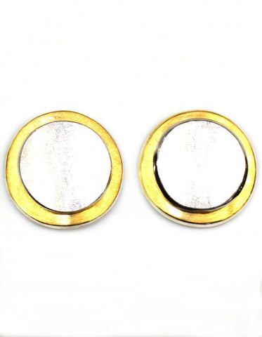 Two Tone Disc Earrings by Bastian Inverun