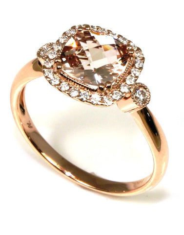 Morganite and Diamond Halo Ring by Allison Kaufman