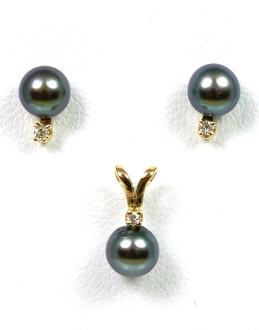5mm Black Pearl and Diamond Earrings with Pendant