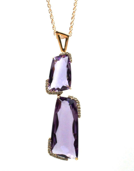 Geometric Elegant Amethyst and Diamond Necklace by Allison Kaufman