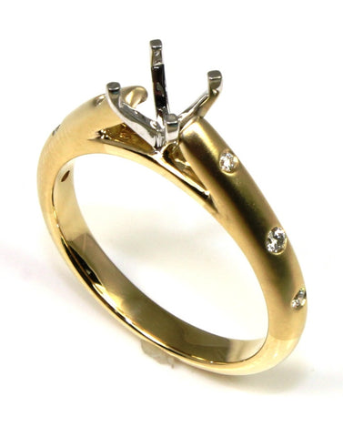 Contemporary Flush Set Diamond Ring Mounting by Allison Kaufman