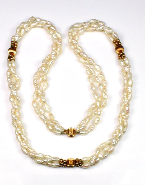 Triple Strand Seed Pearl Necklace