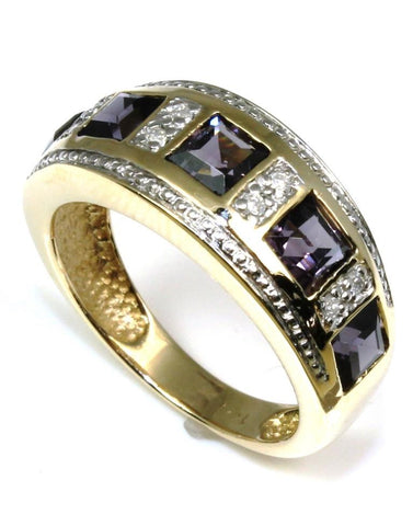 Iolite and Diamond Band
