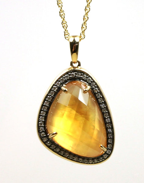 Citrine and Mother of Pearl with Diamonds Necklace by Allison Kaufman