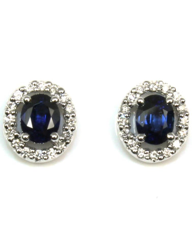 Oval Sapphire with Diamond Halo Earrings