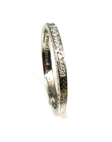 Platinum .14ctw Diamond Carved Band