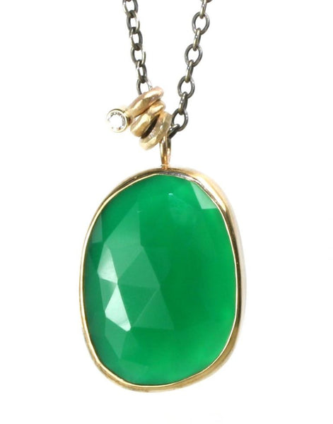Unique Green Onyx and Diamond Necklace
