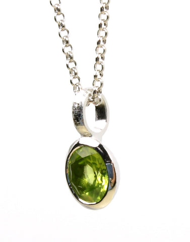Peridot Hammered Necklace by Bastian-Inverun