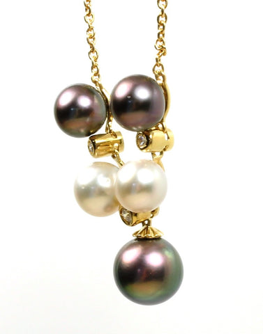 Black and White Pearl and Diamond Necklace