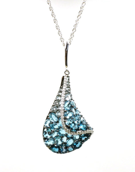 Blue Topaz and Diamond Sail Necklace by Allison Kaufman