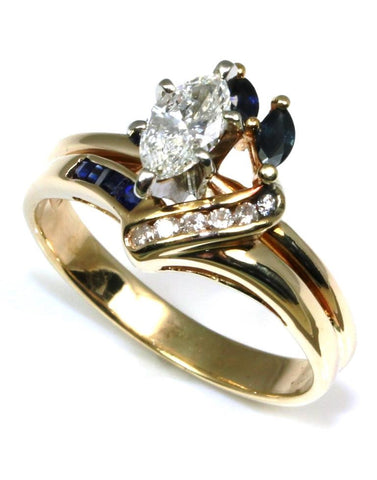 .79ctw Marquise Diamond and Sapphire Ring