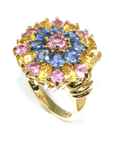 Yellow, Pink, and Blue Sapphire Flower Ring