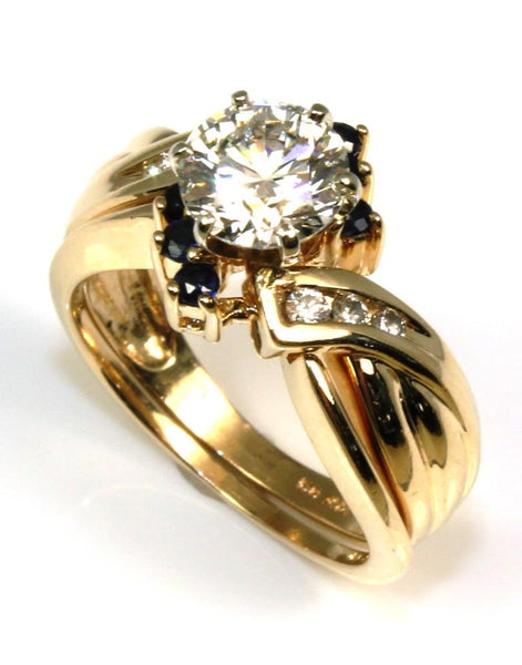 1.06ctw Diamond Ring with Sapphire Guard