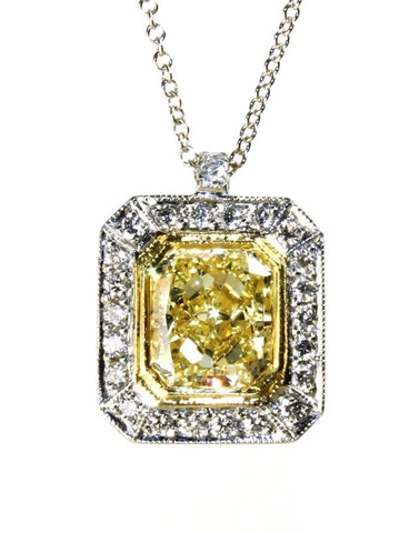 2.63ctw Fancy Yellow and White Diamond Halo Necklace