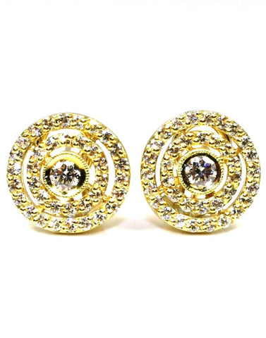 1.41ctw Double Halo Stud Earrings